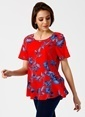 Fabrika Kısa Kollu Çiçekli Bluz Renkli